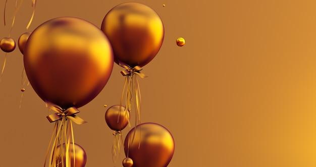 Close up e resumo de balões de ouro 3d, 3d render, fundo de balões.
