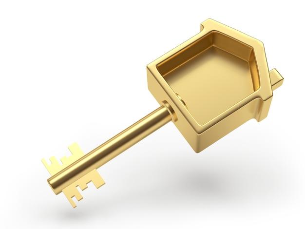 Close-up em casa de chave de ouro isolada