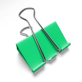 Close-up em clipe de pasta verde isolado