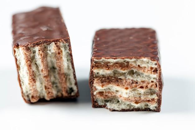 Close-up em doces com waffles