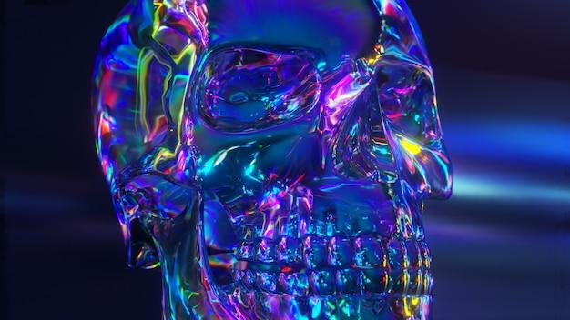 Close-up em formato de crânio humano reflexivo