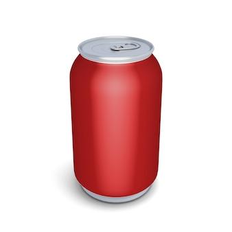 Close-up em lata de alumínio para refrigerante isolado