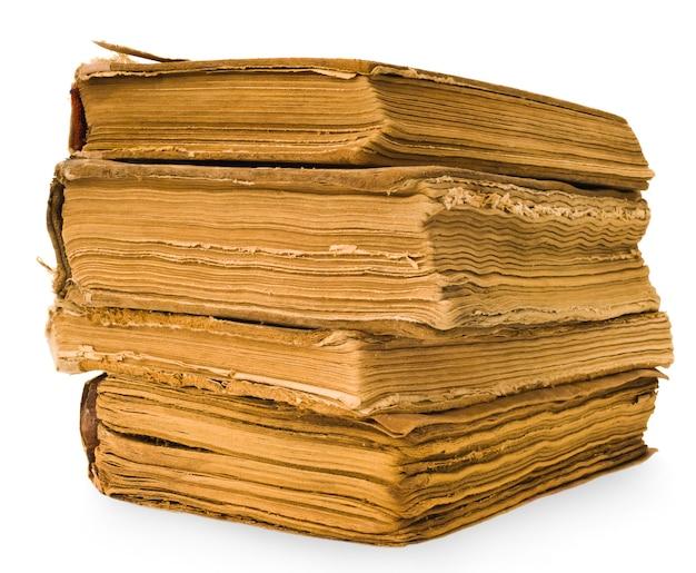 Close-up em livros antigos isolados