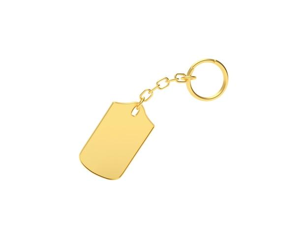 Close-up em um chaveiro dourado em branco isolado