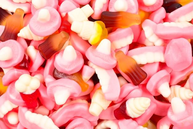 Close-up em uma textura variada de balas de goma