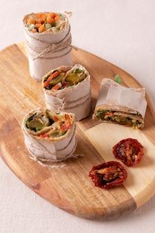 Close-up em wraps de salgadinhos de comida