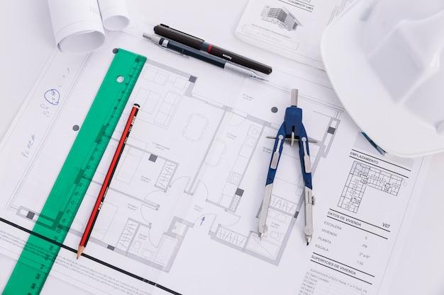 Close-up, esboçar ferramentas, ligado, desenhos técnicos