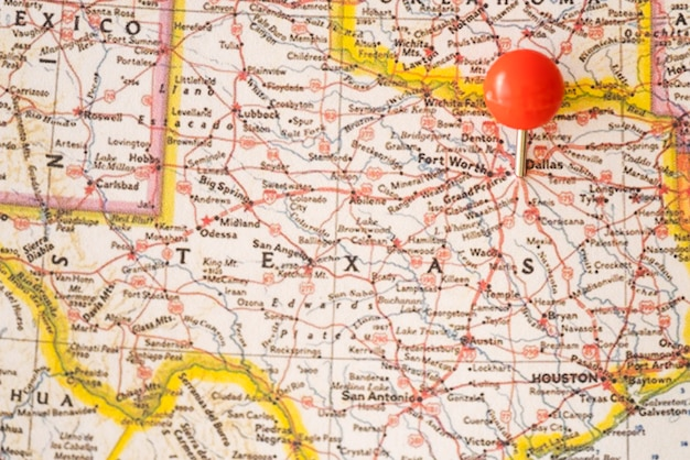 Close-up, estados unidos américa, mapa, e, vermelho, pontual