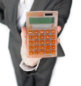 Close-up, executiva, segurando, calculadora