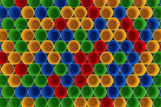 Close up extremo de backround de copos de plástico colorido. renderização 3d.