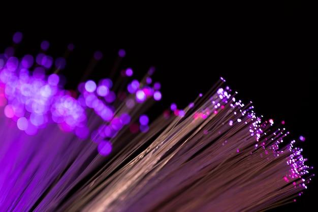 Close-up, fibra ótica, luzes, focalizado, e, obscurecido