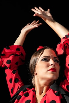 Close-up, flamenca, dançarino, levantamento, mãos