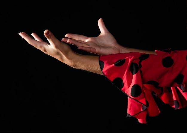 Close-up, flamenca, mulher, mostrando, mãos
