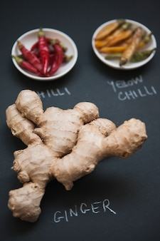 Close-up ginger and chilli