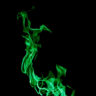 Close-up girando fogo verde