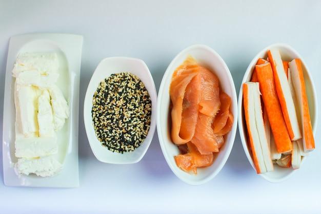 Close-up imagens de ingredientes de sushi
