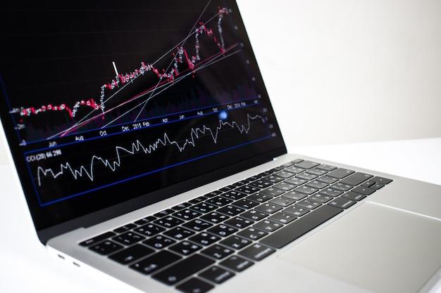 Close-up, laptop, computador, imagem, mostrando, financeiro, gráfico, ligado, tela