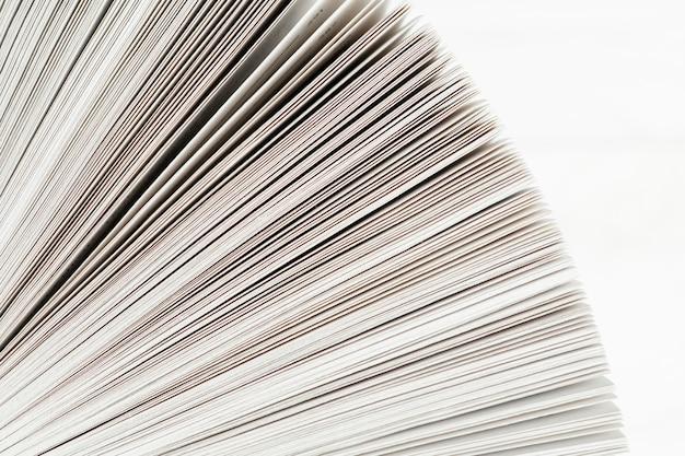 Close-up, livro, papel, branca, fundo
