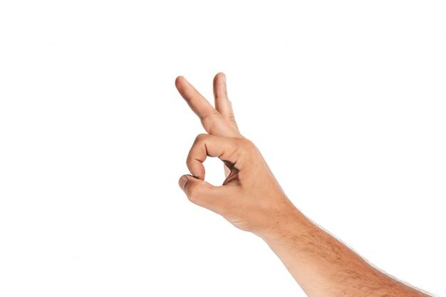 Close-up masculino mão em branco
