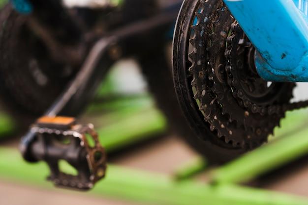 Close-up mecânica de bicicletas