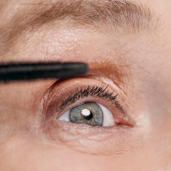 Close-up, mulher, olho lindo