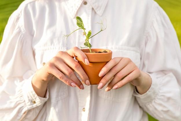 Close-up mulher segurando o vaso
