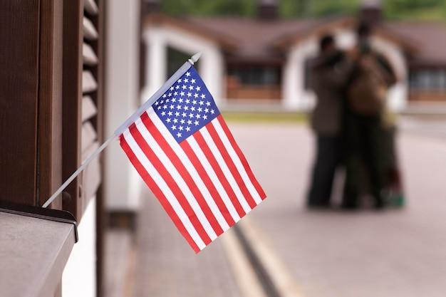Close-up na bandeira dos estados da américa