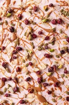 Close-up na comida lanches de chocolate branco