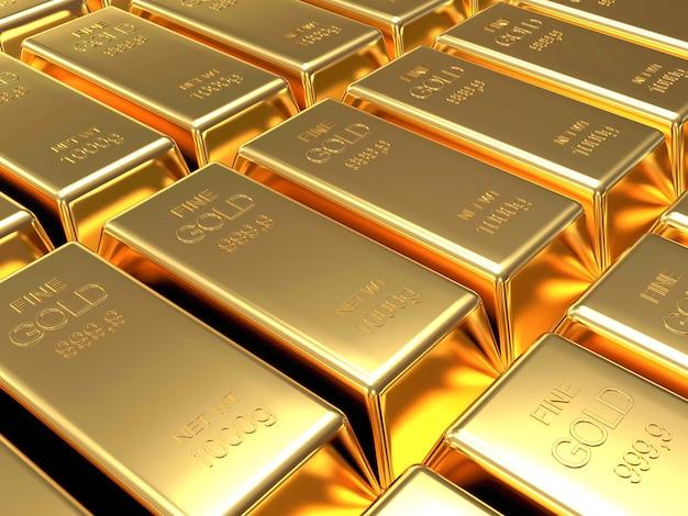 Close-up na linha de modelo de barras douradas