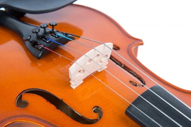 Close-up na ponte de um violino