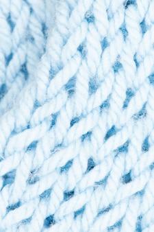 Close-up na textura de malha de lã azul
