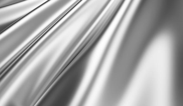 Close-up na textura de tecido de seda prateada ondulada