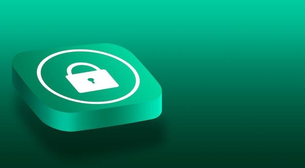 Close-up no botão 3d com um ícone de cadeado