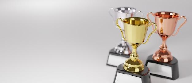 Close-up no prêmio troféu de ouro em renderização 3d