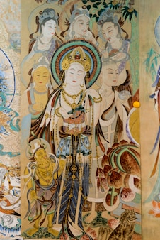 Close-up, parede, mural, dunhuang, jiuquan, gansu, província, china