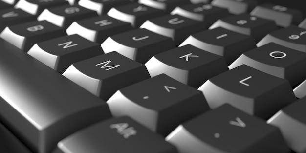 Close-up preto do teclado do computador, ilustração 3d