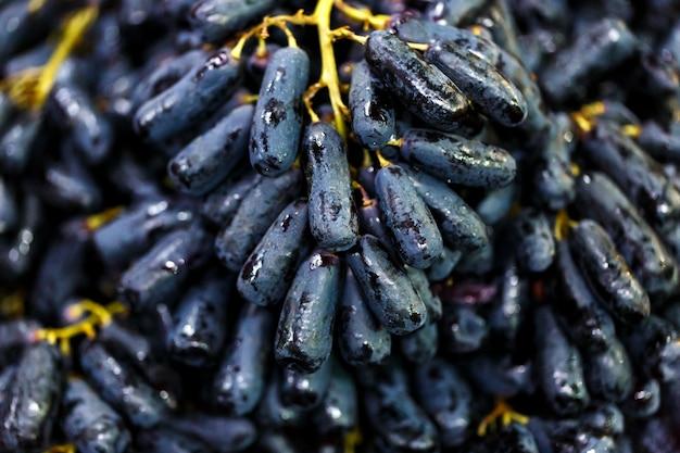 Close up preto sem sementes moon drops uva ou witch fingers uva