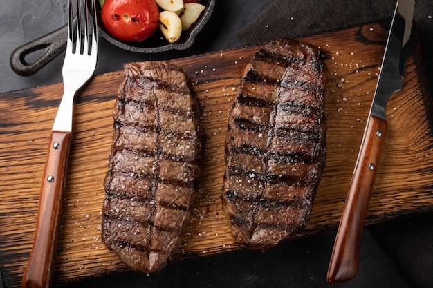 Close up pronto para comer a lâmina da parte superior do bife.