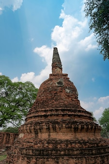 Close up quebrado e curvado antigo pagode (chedi) ruínas da antiga capital do sião, ayutthaya, no templo wat phra si sanphet, famoso lugar para viajar em phra nakhon si ayutthaya, tailândia