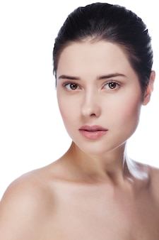 Close-up, retrato, de, excitado, caucasiano, mulher jovem, com, bonito, olhos marrons