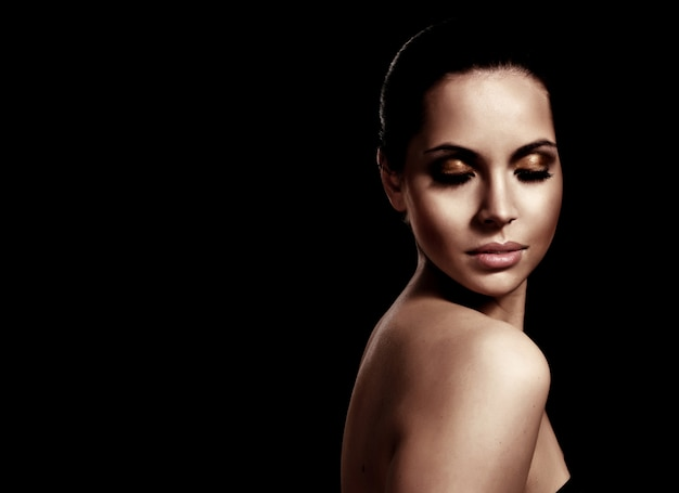 Close-up, retrato, de, um, fresco, e, bonito, moda jovem, modelo