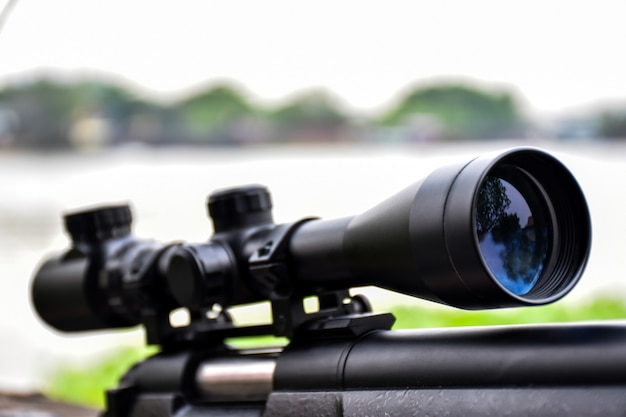 Close up rifle de mira
