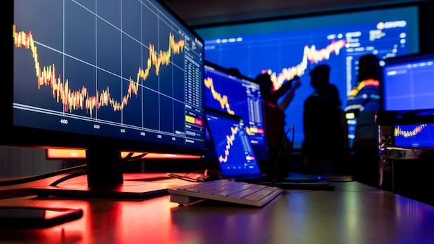 Close up shot de análise financeira gráfico gráfico bolsa de valores bitcoin criptomoeda computador