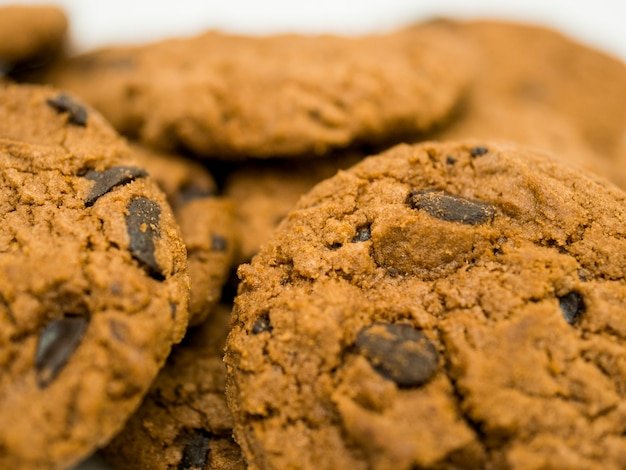 Close up shot do fundo da pilha de cookies