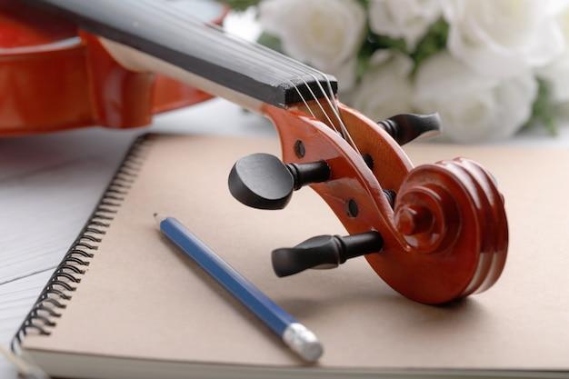 Close-up, tiro, violino, headstock, orquestra, instrumental