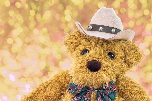 Close-up urso de pelúcia cowboy