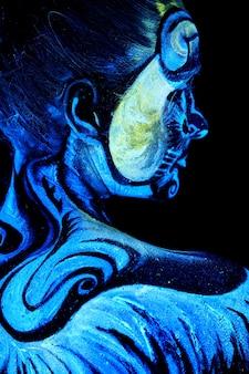 Close up uv portrait em um feemale