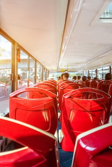 Close-up, vazio, assentos, ônibus