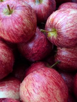 Close-up vermelho da maçã. fundo das maçãs