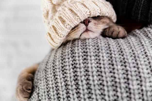 Close-up, vestindo roupas de inverno